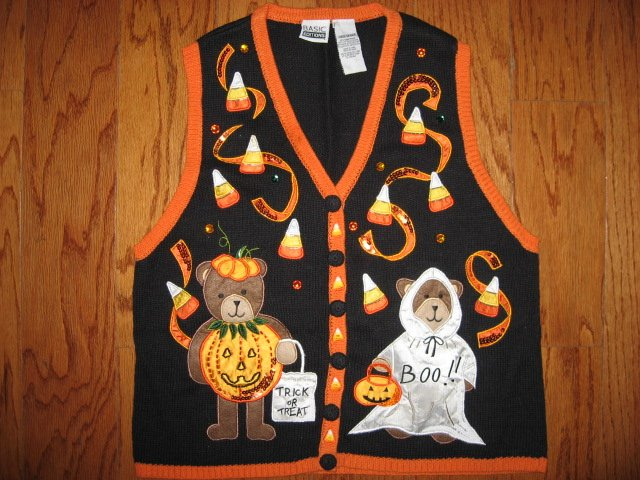 Halloween embroidered vest new adult size large teacher gift /