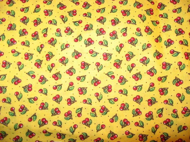 Image 0 of Mary Engelbreit Cherries yellow quilt Sewing Fabric by the yard