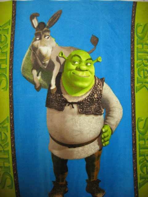 Image 0 of Shrek Donkey  licensed handmade fleece blanket 48