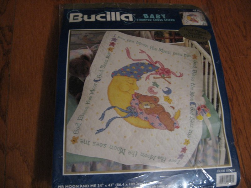 Bucilla Teddy bear on moon pre quilted crib cover Cross stitch Kit 34 X 43