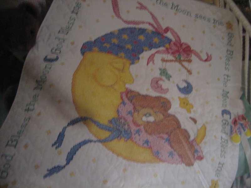 Image 2 of Bucilla Teddy bear on moon pre quilted crib cover Cross stitch Kit 34