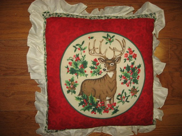 Buck deer clean handmade 14 cotton Pillow