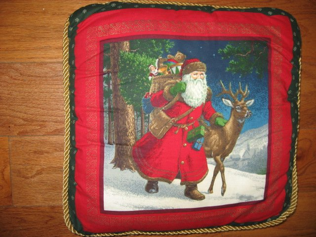 Old world Christmas Santa handmade 15 cotton Pillow with cording