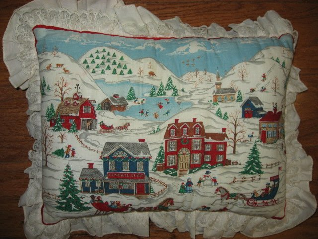 Victorian snow scene Rectangular handmade 10X14 cotton Pillow with ruffle