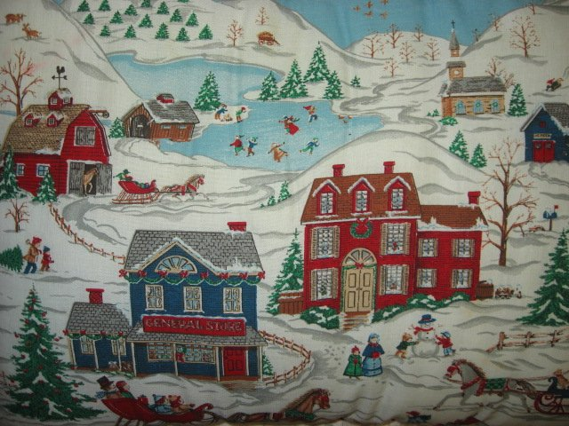 Image 1 of Victorian snow scene Rectangular handmade 10