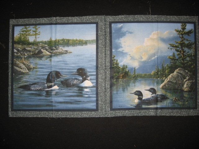 Loons on a lake  set of 2 Pillow Panels of 100% cotton Fabric