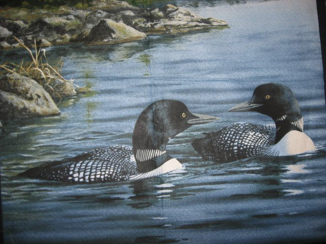 Loons On A Lake Set Of 2 Pillow Panels Of 100 Cotton Fabric