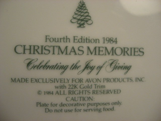 Image 2 of Avon Christmas giving 1984 collector plate.