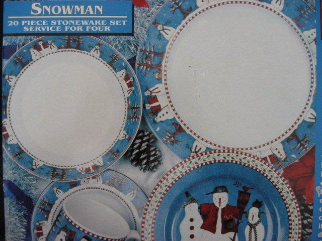 Image 1 of Debbie Mumm Sakura 20 Piece Snowmen 1997 Stoneware Set