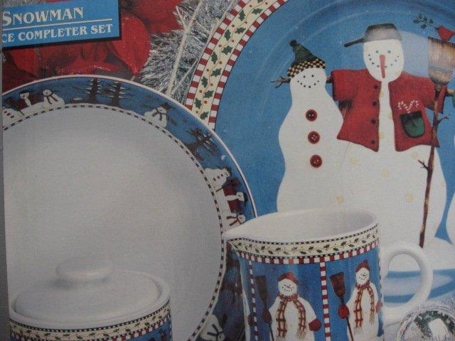 Debbie Mumm Sakura 5 Piece Snowmen 1997 completer Stoneware Set