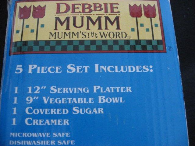 Image 1 of Debbie Mumm Sakura 5 Piece Snowmen 1997 completer Stoneware Set