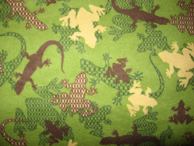 Frog Lizard Iguana Reptile green 100% cotton flannel By the Yard