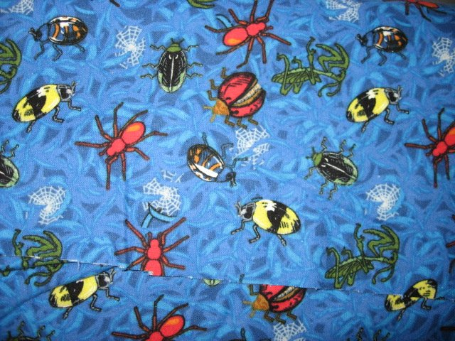 Ladybug Beetle Spider Insect on blue 100% cotton flannel By the Yard