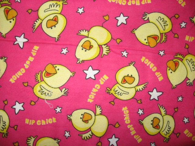 Whimsical Hip Chicks Chicken stars Pink 100% flannel Cotton fabric By the Yard