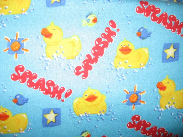Rubber Ducks Bath Bubbles FishSplash Blue 100% cotton flannel by the yard