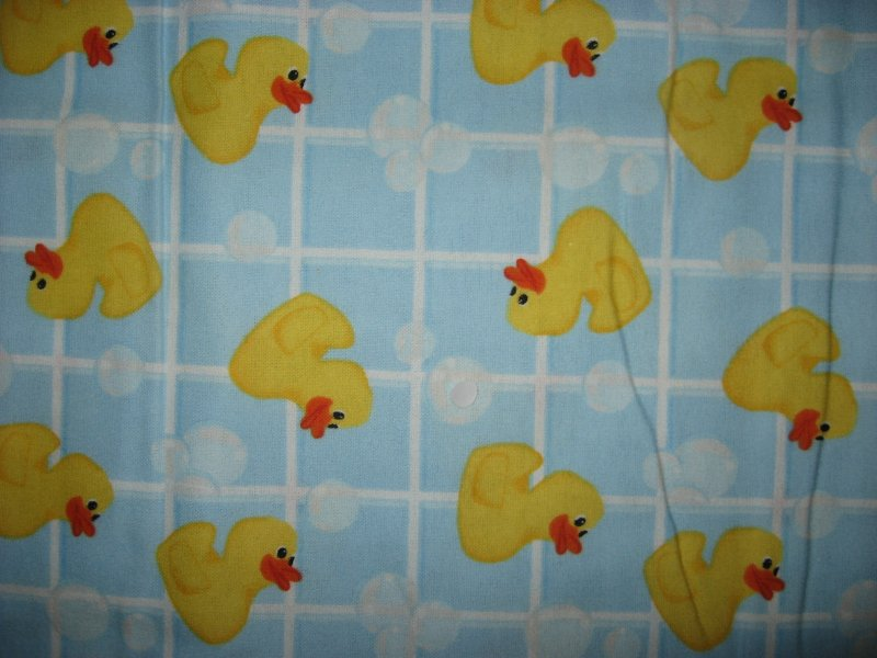 Rubber Ducks Bath Tiles Bubbles Blue cotton baby boy flannel blanket