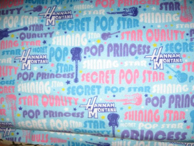 Hanna Montana Pop Star Pre teen 100% cotton flannel By the yard