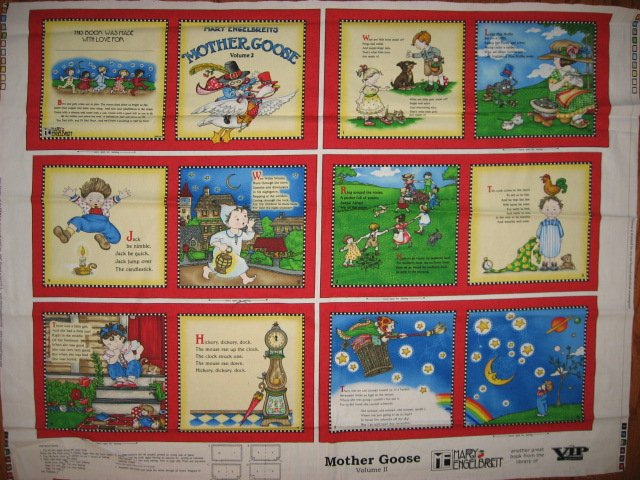 Mary  Engelbreit Mother Goose  soft book Fabric panel red rare Vol  2