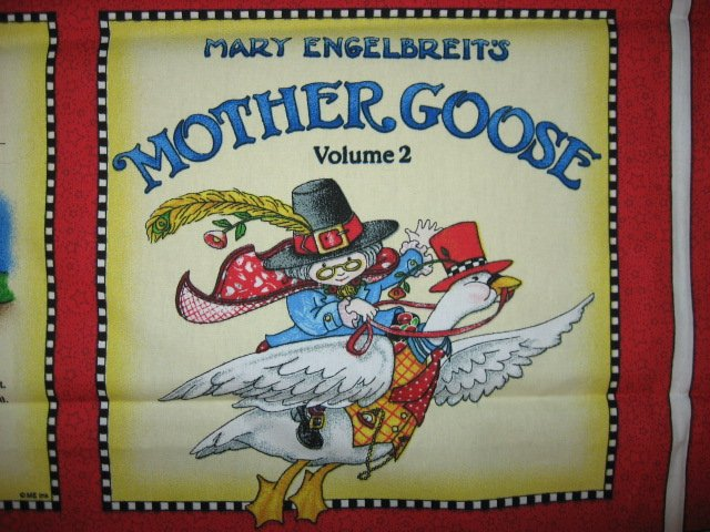 Image 1 of Mary  Engelbreit Mother Goose  soft book Fabric panel red rare Vol  2