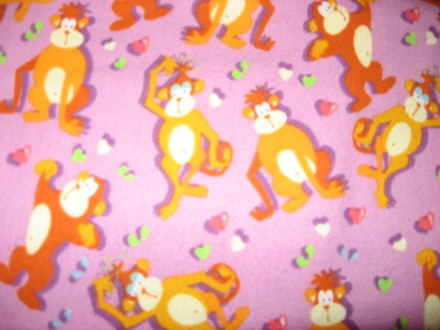 Monkeys Whimsical Lilac 100% Cotton Flannel By the Yard