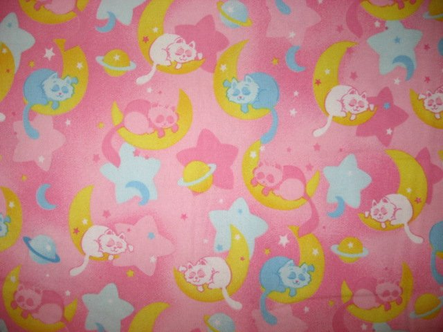 Whimsical sleeping cats moon star planets pink flannel for Moon fleece fabric