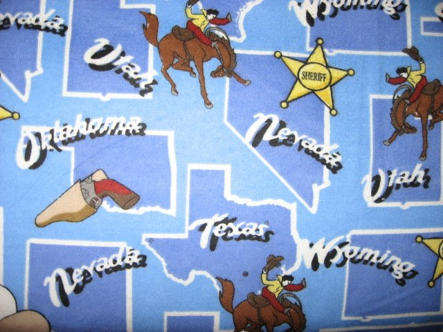 Southwest Cowboy Horse Hat Badge gun map States Blue 100% cotton Flannel