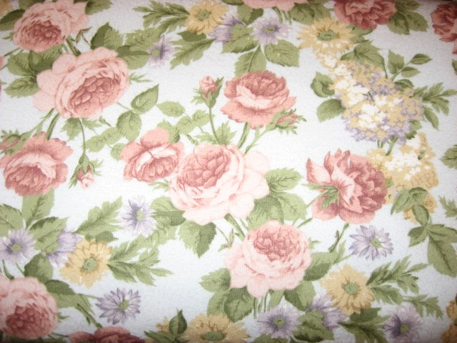 Flowers Roses Lilacs Asters on blue 100% cotton flannel By the Yard