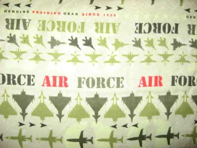 Green Camoflague United States Military Airforce Jets Plane Flannel by the yard