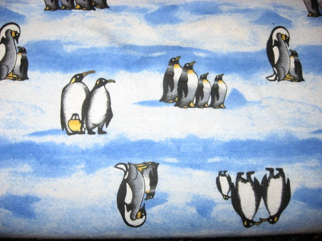 Penguin Penguins in Rows on Ice and Snow on 100% cotton flannel By the Yard