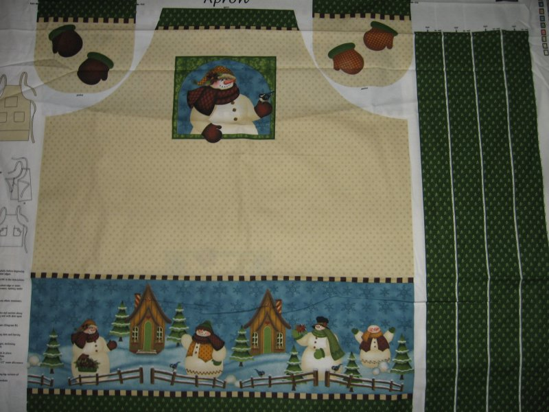 Image 0 of Snowmen family scene quality aprons One cotton fabric apron panel to sew