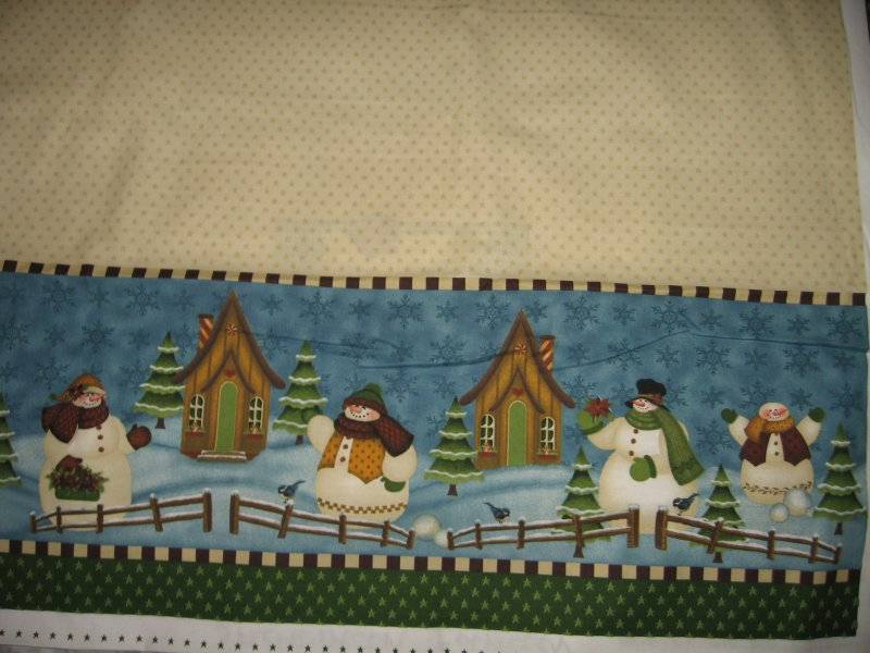 Image 1 of Snowmen family scene quality aprons One cotton fabric apron panel to sew
