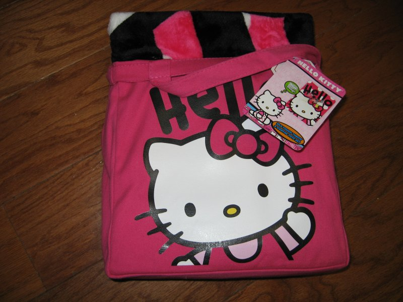 Hello Kitty Large silk touch throw and  pink canvas tote set clean new with tags