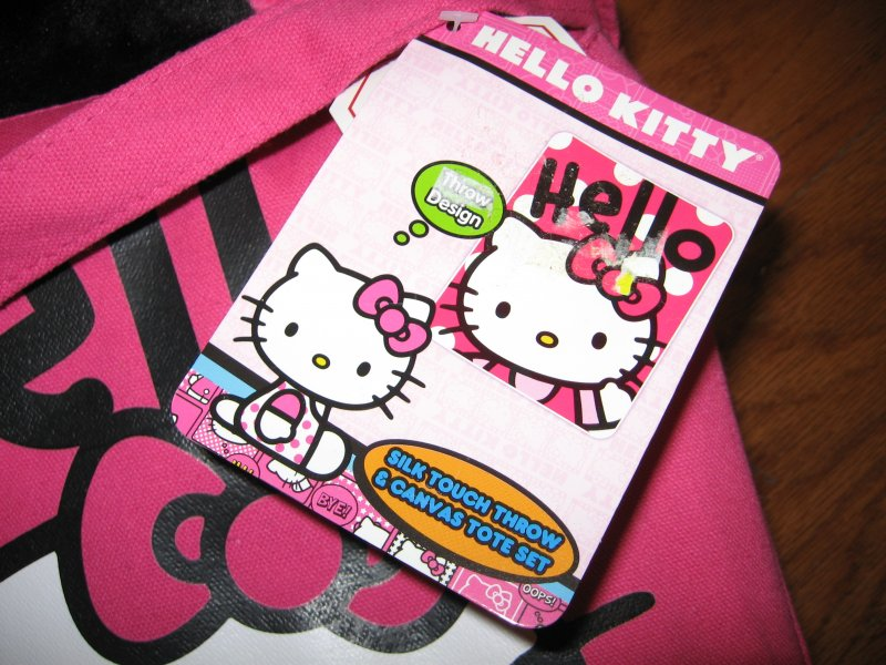 Image 1 of Hello Kitty Large silk touch throw and  pink canvas tote set clean new with tags