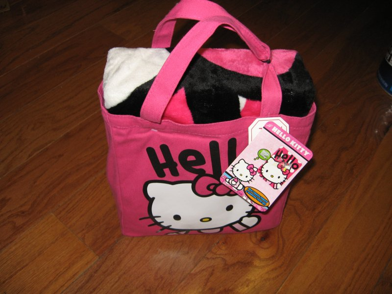 Image 2 of Hello Kitty Large silk touch throw and  pink canvas tote set clean new with tags