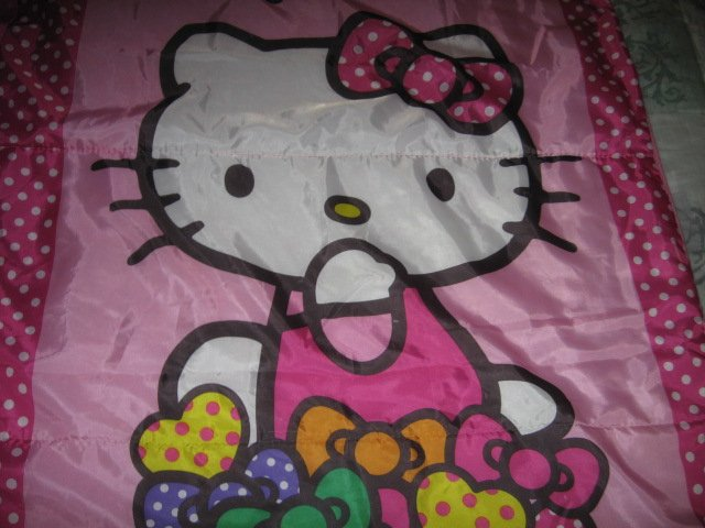 Image 2 of Sanrio Hello Kitty pink gently used 2014 sleeping bag with polkadots 28