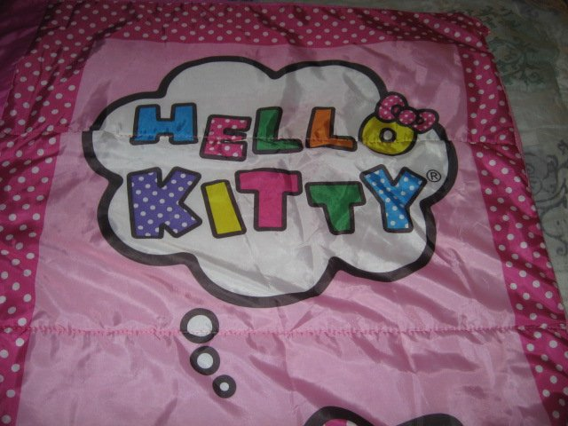 Image 3 of Sanrio Hello Kitty pink gently used 2014 sleeping bag with polkadots 28