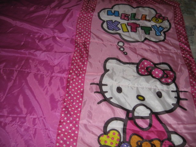 Image 0 of Sanrio Hello Kitty pink gently used 2014 sleeping bag with polkadots 28