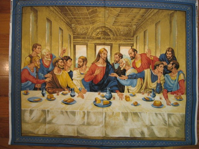 Image 0 of Jesus Apostles Last Supper Cotton Fabric Quilt or Wall Panel to sew or frame/