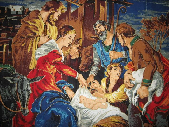 Image 1 of Nativity Jesus Birth Mary Joseph Christmas Fabric Cotton Quilt wall panel to sew