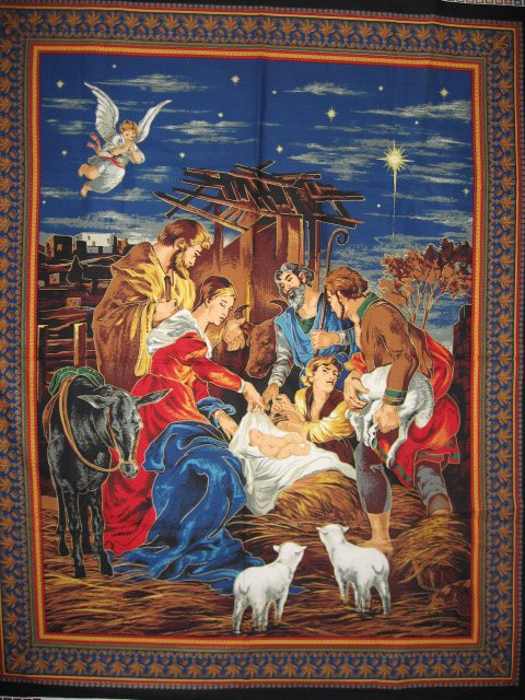 Image 0 of Nativity Jesus Birth Mary Joseph Christmas Fabric Cotton Quilt wall panel to sew