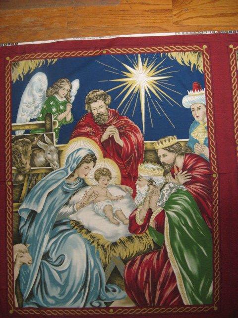 Image 1 of Nativity Jesus Birth Mary Joseph fabric quilt or wall Panel maroon border to sew
