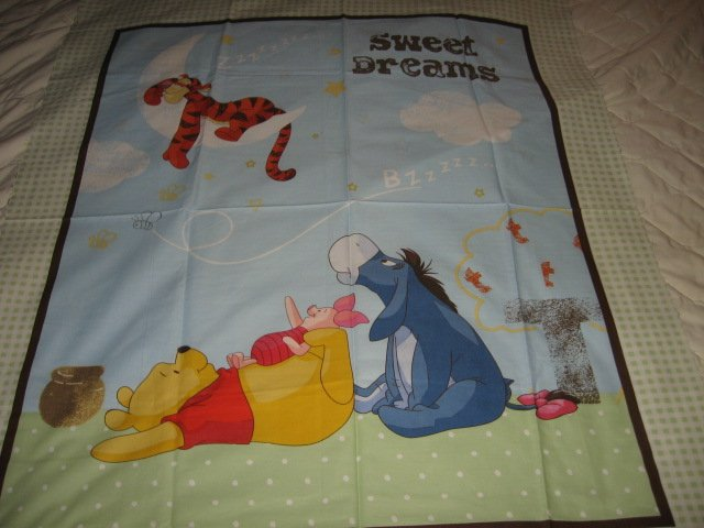 Image 1 of Disney Tigger Piglet Pooh Eeyore cotton fabric Quilt top or wall panel to Sew