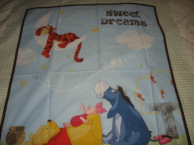 Image 0 of Disney Tigger Piglet Pooh Eeyore cotton fabric Quilt top or wall panel to Sew