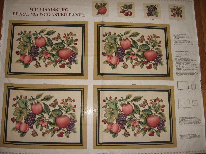 Williamsburg placemats coasters set of four Panel to Sew  Peaches Grapes Apples