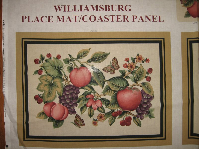 Image 1 of Williamsburg placemats coasters set of four Panel to Sew  Peaches Grapes Apples