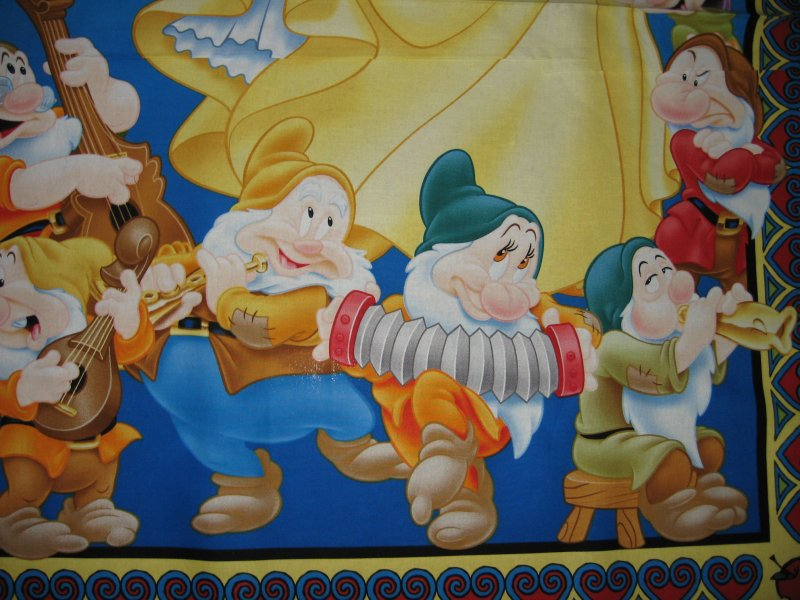 Image 2 of Disney Snow White and 7 Dwarfs Cotton Fabric wall or crib Panel to Sew