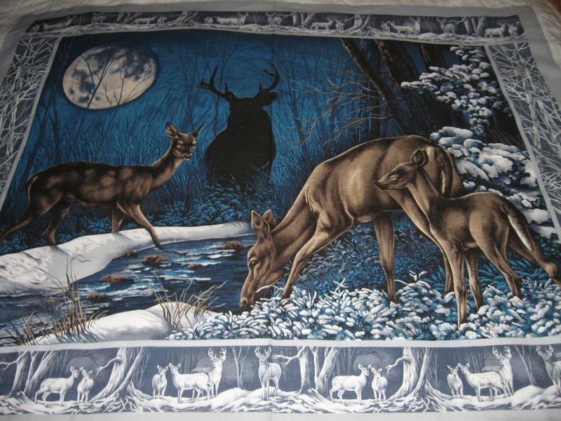 Image 0 of Stunning deer in frozen woods 100% Cotton Fabric quilt top  wall Panel to sew /
