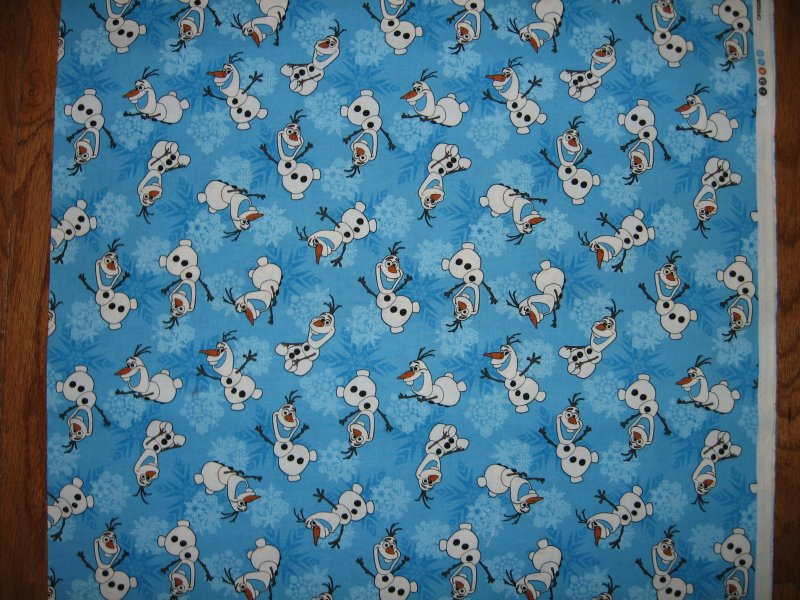 Disney Frozen Olaf Snowman blue cotton fabric by the yard  to Sew