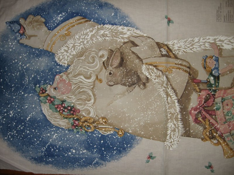 Image 1 of Exquisite Father Christmas bunny Daisy Kingdom Fabric wall door Panel to Sew //