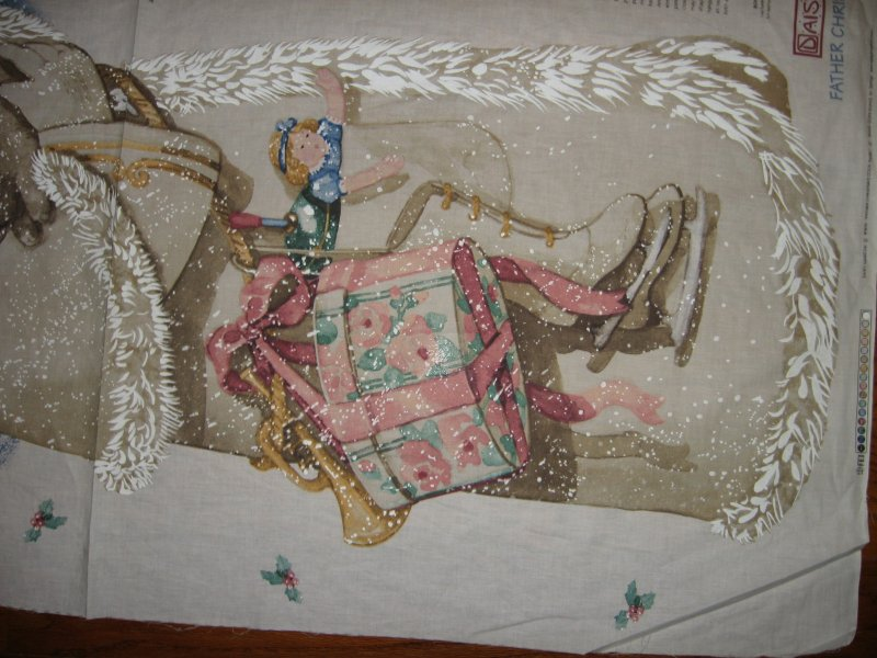 Image 2 of Exquisite Father Christmas bunny Daisy Kingdom Fabric wall door Panel to Sew //